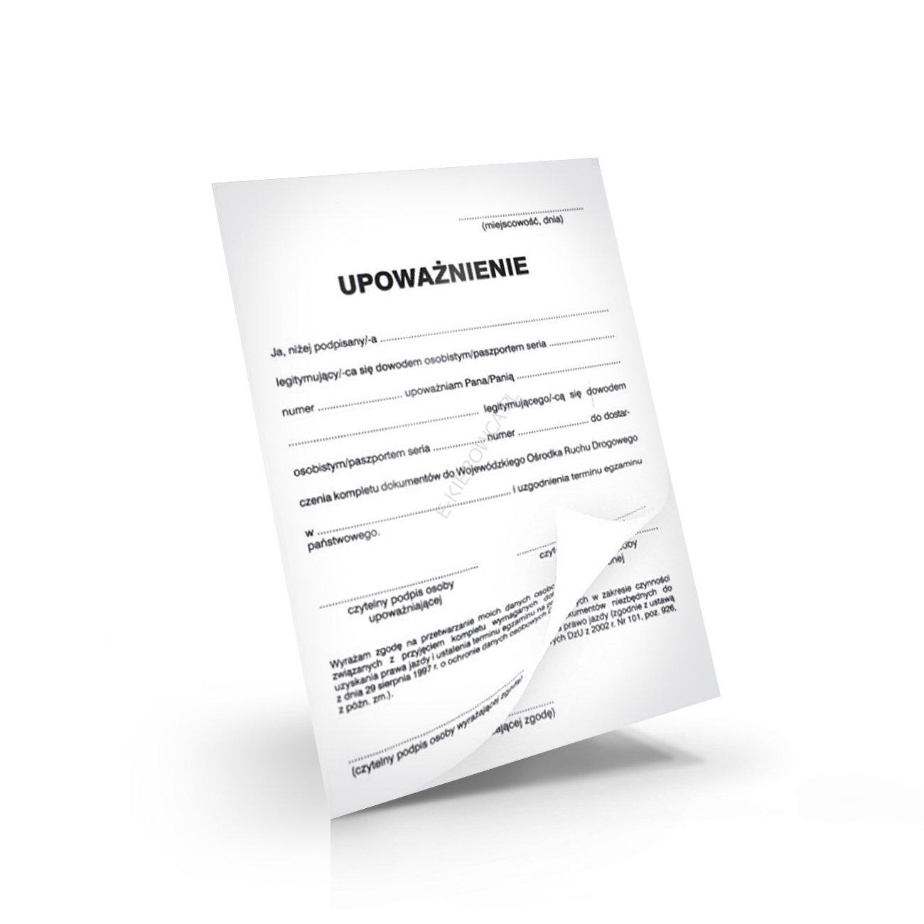 upoważnienie do złożenia dokumentów