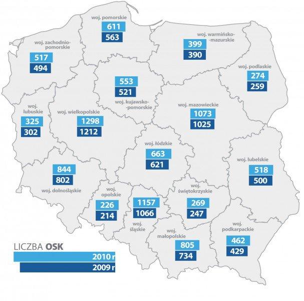 mapa Liczba OSK 2009 r. 2010 r.