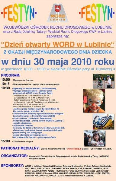 """plakat """" Dzień otwarty WORD w Lublinie """""""