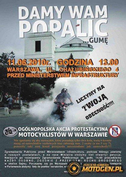 """plakat """" Ogólnopolska akcja protestacyjna motocyklistów w Warszawie """""""