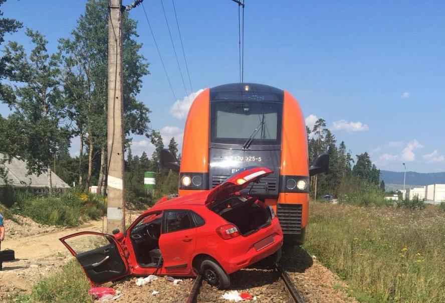 wypadek, pociąg uderzający w samochód osobowy